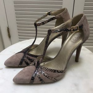 Jessica Simpson Suede and Snakeskin heels